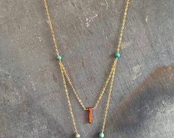 White & Teal Druzy Triangle Layered Necklace - Long Boho Layering Necklace - Gold Bohemian Arrow Necklace - Boho Chic Bar Necklace - Jasper
