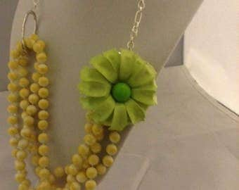 Green Daisy Necklace and Earrings