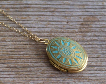 Gold Filled Necklace, Aqua Brass Locket Necklace, Small Aqua Blue Gold Locket, Delicate Necklace, Art Deco Locket, Turquoise Patina Locket