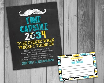 Time Capsule First Birthday Printable Time Capsule Birthday Time Capsule Mustache Birthday Mustache Bash Moustache Birthday Mustache Party