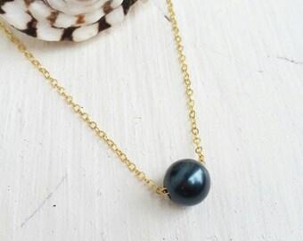 Tahitian Pearl Floating Necklace - pearl, beach jewelry, ocean jewelry, Hawaii, kauai