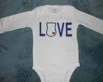 Policeman Love Baby Bodysuit