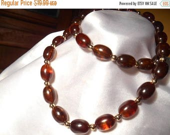 50% OFF SALE Avon Turtle Bay Simulated Tortoise Shell Oval Plastic Bead Necklace