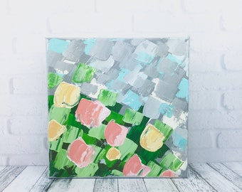 Abstract Flower Painting, Small Original Artwork, Bright Colors Textured Abstract Floral Canvas, Modern Art 8x8 Spring Garden Art