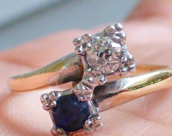 Sweet Antique 14k Moi Et Toi Mine cut Diamond Blue Sapphire bypass engagement ring.  Size 5.5