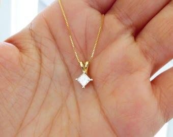 14k 1/2 carat Princess cut diamond solitaire necklace