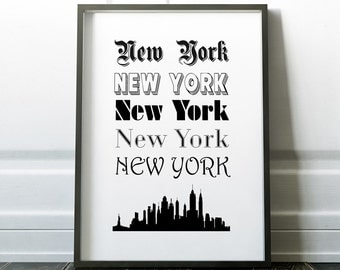 New York City USA Travel Poster, Travel Prints, typography Prints New York Skyline Black and White Print Poster - downloadable digital file