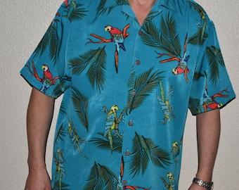 Retro 90s Mens vintage Hawaiian style Reservoir Oasis shirt M parrot Birds lovers Boyfriend  Unisex Beach Surf  vacation fun cruise