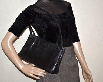 Vintage leather Monsac black purse 90s designer bag Top handles shoulder designer bag,  organizer travel
