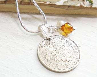 1957 Lucky Sixpence Necklace, Gift for Women. 60th Birthday Gift. 60th Anniversary, Topaz, November Birthstone, Mothers Day