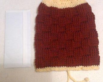 Rust & Cream Basket Weave Stitch Slouch Hat