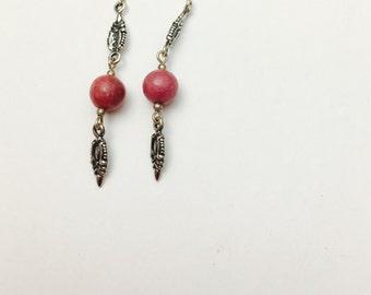 Pink Earrings, Vintage, Sterling Silver, Dangling, Native Design, HALF Off Sale, Item No. S378