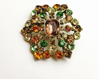 Multicolor Rhinestone Brooch, Gold Tone, Vintage Wedding Accessory, Item No. B662