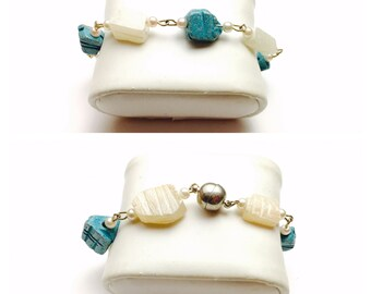 White and Turquoise SCARAB Bracelet, Carved Stone, Silver Tone Clasp, Alpaca Wire, pre-holiday Sale, Item No. B766