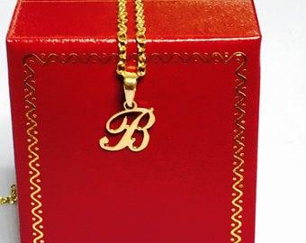 "14K Gold Pendant from the 80's, Cursive Letter "" B "" Monogram Pendant, Retro Design, Clearance S A L E, Item No. S436"