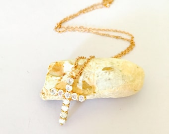 Vintage  Cross pendant, gold Tone, clear rhinestones, matching necklace, item no B788