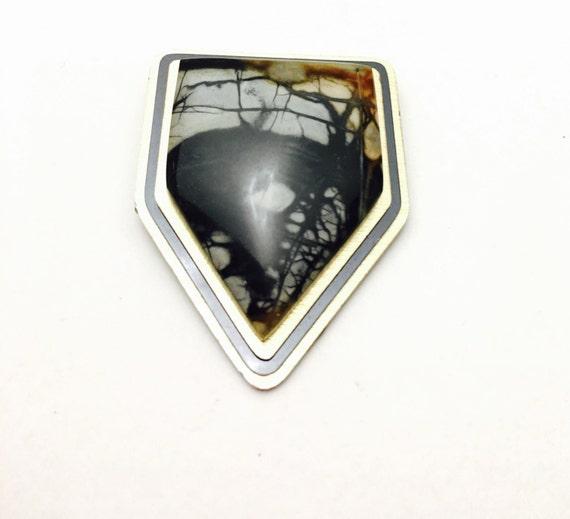 Art Nouveau Brooch, Marble Brooch, Sterling Silver, Geometric Design, Stone Brooch, Clearance Sale, Item No. S128
