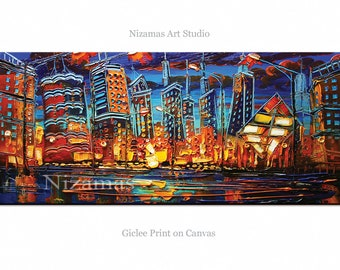 City - Abstract Art - A Night in Chicago Giclee on canvas home interior Decor Paula Nizamas Ready to hang
