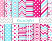 SALE Pink and Blue Valentine's Day Hearts, Stripes and Chevrons Printable Digital Papers for Personal and Small Commercial Use (0257)