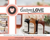 50 Custom Wedding Favor Jars with 2 oz of filling, personalized labels