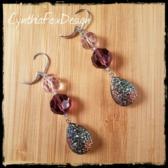 Vintage Purple Crystal and Sugar Glass Earrings, Vintage Swarovski Crystal, Foxxy Jewelry from CynthiaFoxDesign