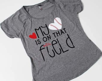 Scoop neck baseball, softball, soccer, football, volleyball mom t-shirt, my heart is on that field