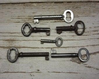 6 Antique Skeleton Keys Authentic Hollow Barrel Vintage Metal Keys Original Collection of Skelton Keys Jewelry Crafts Collection Old Keys A
