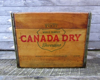 Vintage Wood Crate Beverage Delivery Box Canada Dry Green Red Ginger Ale 1952 Antique Display Aged Stenciled Label Display Storage