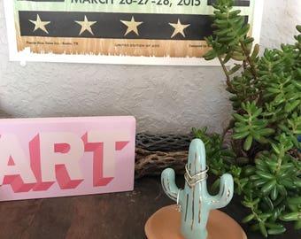 Turquoise southwestern style ceramic cactus ring tree, ring cone, cacti ring holder, ring dish, jewelry storage, gifts under 40