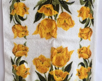 Vintage Set of 2 Pink Yellow Tulip Terrycloth Kitchen Towels by Royal Terry California