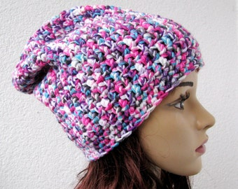 crocheted slouchy beanie, multicolor hat, unisex colorful hat, purple, pink, turquoise