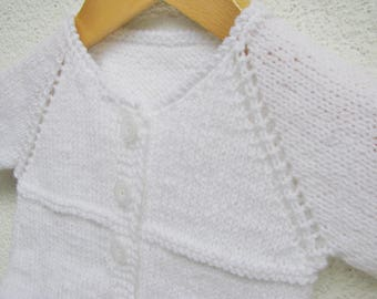 knit baby unisex sweater, white baptism outfit, elegant christening handmade sweater for boy and girl 3-6 months