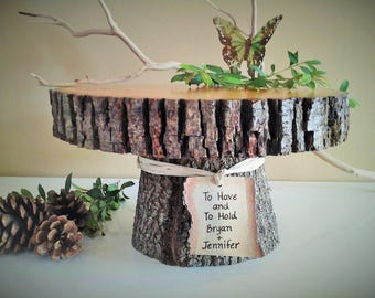 "11"" Rustic wedding cake stand - Personalized cake stand -  Rustic cake stand - Wood cake stand -  Rustic wedding"