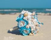 Seashells wedding bouquet . Blue and ivory wedding bouquet. Beach wedding bouquet