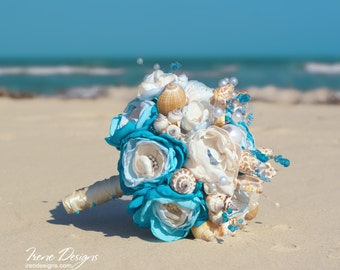 Seashells wedding bouquet . Blue and ivory wedding bouquet. Beach wedding bouquet