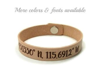 Latitude Longitude Bracelet, Custom Coordinates, GPS Bracelet, Leather Bracelet, Laser Engraved Bracelet, Personalized Gifts, Husband Gift