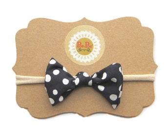 Polkadot Bow Clip, Toddler Headband, Nylon Baby Headband, Infant Hairband, Baby Hairband, Polka Dot Headband, Gift for Infant, Ready To Ship