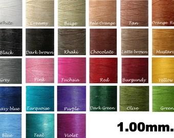 30-60yards/Waxed cord/1.00mm -Mixed Colors Macrame cord