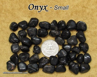 Black Onyx (small) tumbled stones for crystal healing
