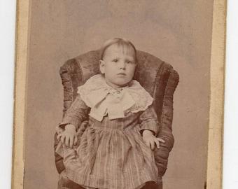 Carte De Visite Peoria Illinois Victorian Girl Antique Photograph Edwardian Child CDV Paper Ephemera Children's Vintage Fashion