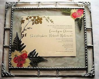 Framed Wedding Invitation Pressed Flower Art Wedding Keepsake Weddings Shower Gift Gifts & Mementos Keepsake Handcrafted Made in USA
