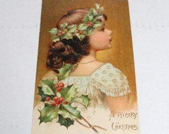 Antique Christmas Postcard A Merry Christmas Child