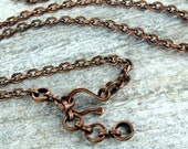 Solid Copper Chain with Handmade Clasp for Your Pendant 30inch