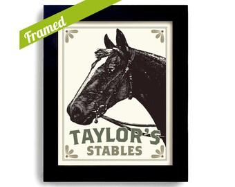 Personalized Art Horse Art for Girls Horse Decor Framed Print Equine Horse Western Decor Lover Gift Quarter Horse