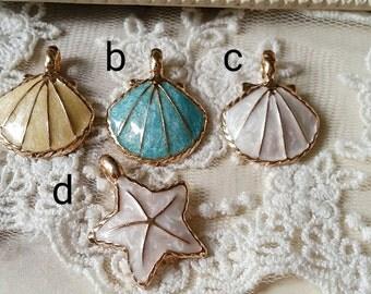 Sea-star and Shell Metal Charm Finding / pendant (.u)(.nu)