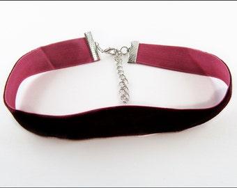 Fine Bordeaux Velvet Ribbon ( Choker ) 2cm  with silvery closure or golden closure