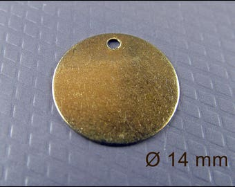20 x circular punch plate with hole, brass A13
