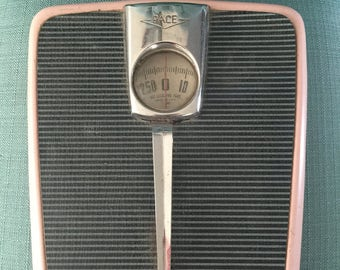 Vintage Mid Century Pink Bathroom Floor Scale by PACE - 1950s Home Bathroom