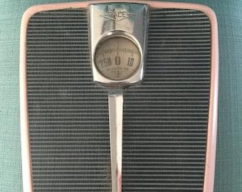 Vintage Mid Century Pink Bathroom Floor Scale by PACE - 1950s Home Bathroom