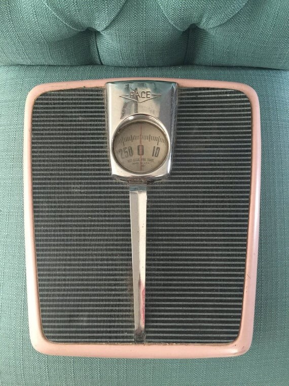 Vintage Mid Century Pink Bathroom Floor Scale by PACE 1950s